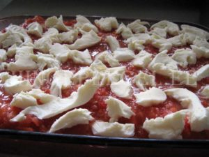 Mozzarellaga kaetud