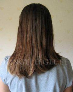 Tütre juuksed 13. okt. 2013 enne kodukootud juukseseerumi pealekandmist.